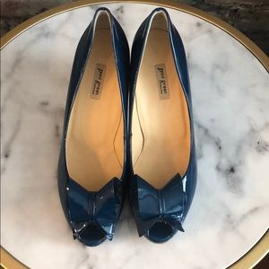 Paul Green Blue Patent Leather Nadia Bow Heels